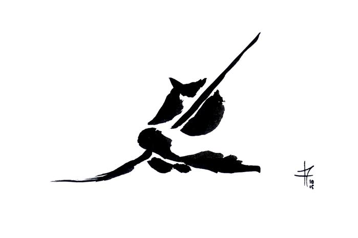 Inktober 1 - main-pinceau - auteur : iamo'i's