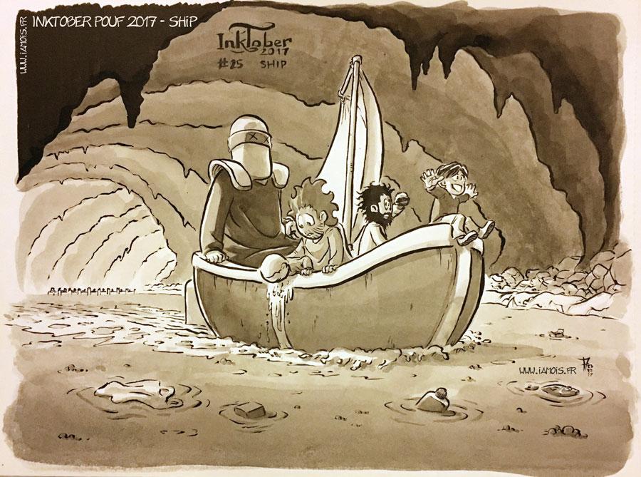 Inktober Pouf 2017 #25 Ship - auteur : iamo'i's